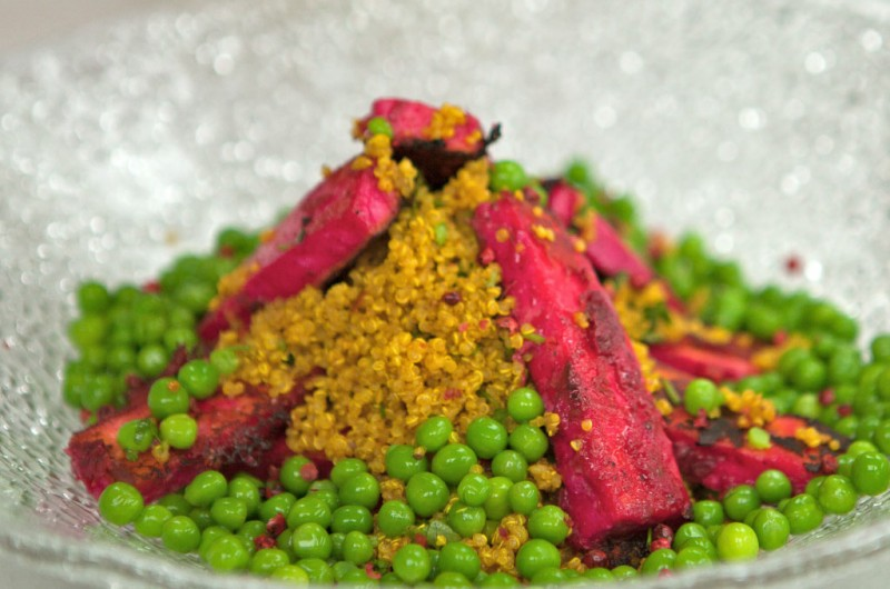 Tandoori Spiced Quinoa-Beetroot-Paneer-Petit-Pois-with Toasted Cashew Crumble