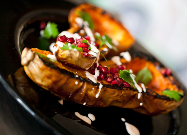 Baked Butternut Squash with Saffron Yoghurt and Pomegranate