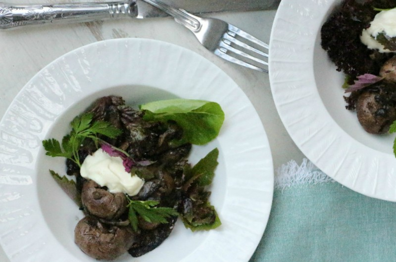 Sautéed Lamb Kidneys, Mushroom and Herby Garden Salad with Crème Fraiche Dressing