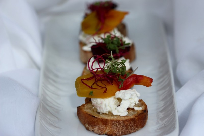 goats cheese and beetroot crostini