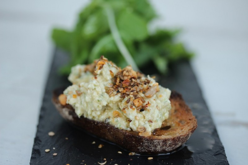White bean Hummus and Feta Bruchette, Dukkah Crumble