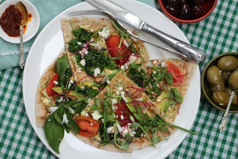 Grilled Flatbread with Hummus, Avocado, Feta and Summer Greens