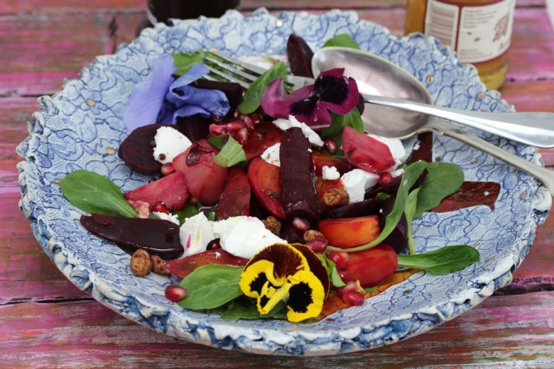 baby beetroot, feta, pomegranate salad