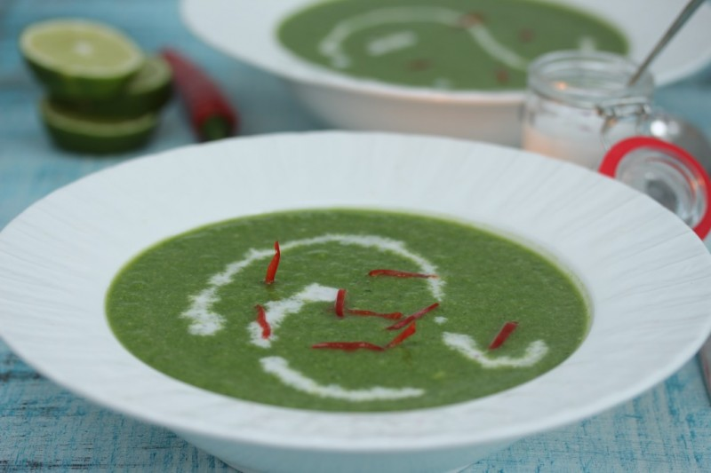Broccoli and Spinach Soup with Coconut Chilli and Lime Cream