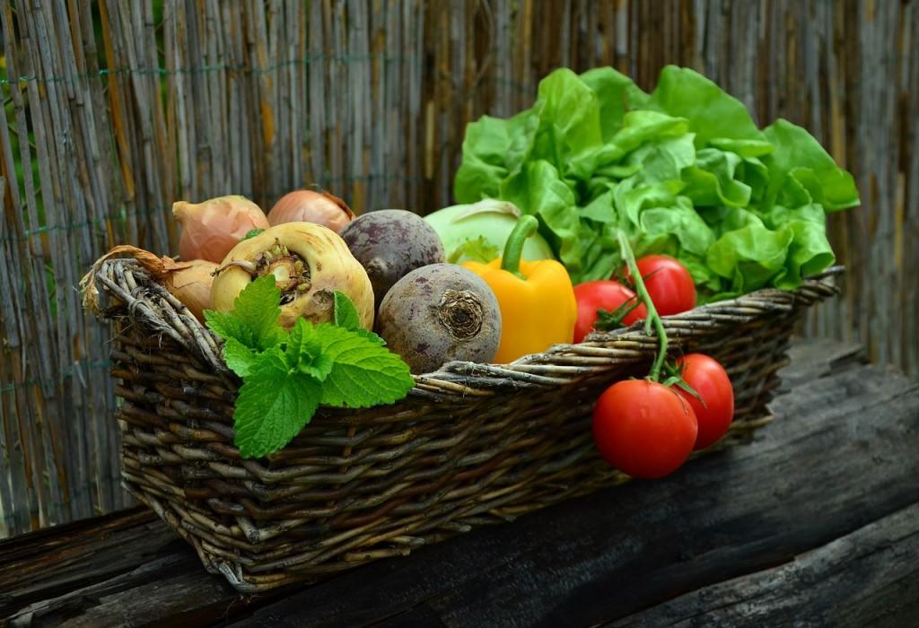 basket with beetroot parsnips tomatoes and lettuce designed to support a healthy gut