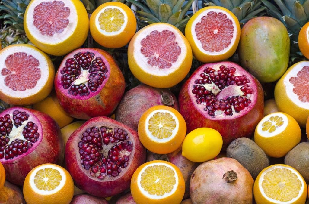 natural aphrodisiac selection of pomegranate and pink grapefruits