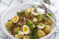 New baby potato salad with bacon and quail egg