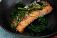 Seared Organic Salmon with Asparagus and Spring Onion Salsa