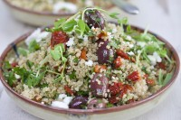 Greek Quinoa Salad, Smoked Semi-Dried Tomatoes, Olives and Feta