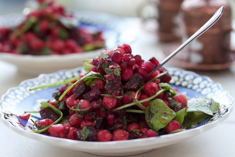 Tikka Spiced Chickpea, Beetroot and Pomegranate Salad