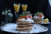 Gluten-free Buckwheat Pancakes with Sour Cream, Smoked Salmon and Salted Capers