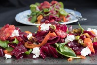 Beetroot and Blood Orange Salad with Roasted Red Pepper, Caramelized Pistachio and Goats Cheese