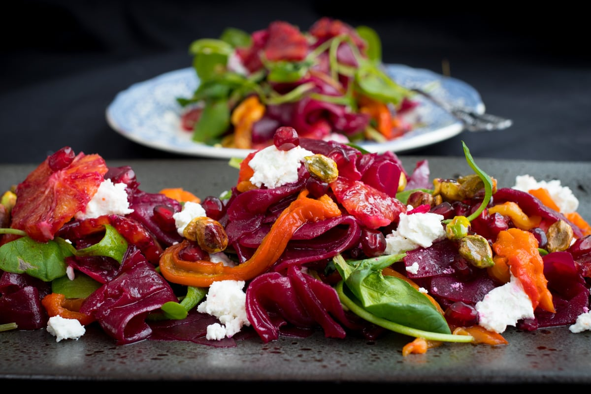 Beetroot and Blood Orange Salad with Roasted Red Pepper, Caramelised Pistachio and Goats Cheese