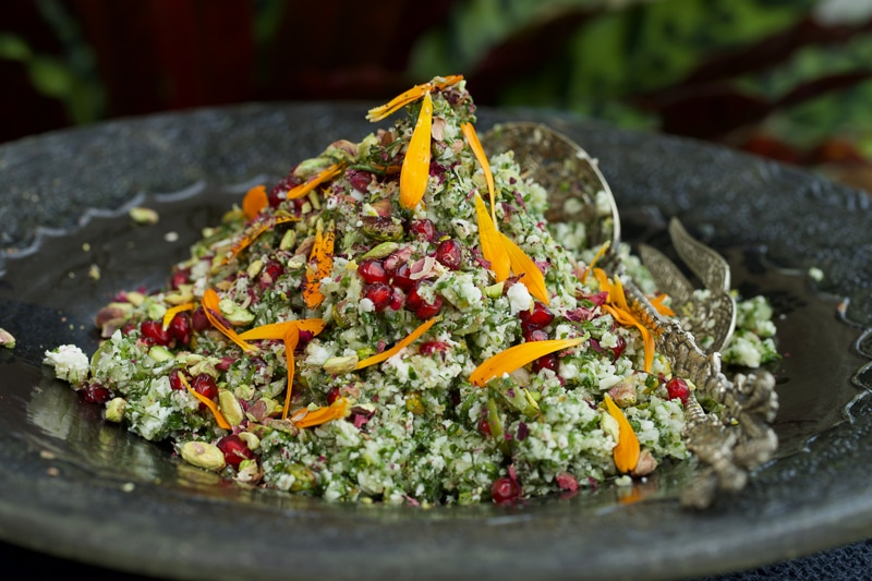 Cauliflower and Fennel Rice Salad with Pistachio Crumble, Creamy Feta and Pomegranate