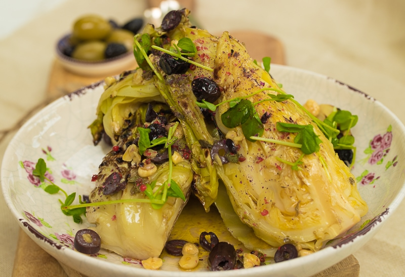 Char-Grilled Hispi Cabbage, Manuka, Hazelnut and Black Olive Butter