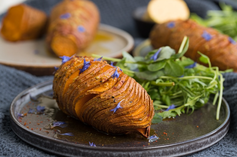 Originating in Sweden, Hasselback potatoes are generally made with basic white potatoes or new season potatoes.