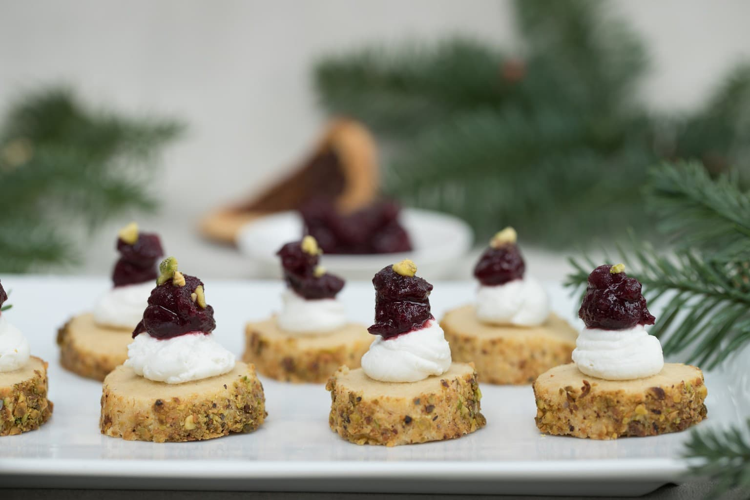 Cardamom and Pistachio Short Breads with Whipped Goats Cheese and Persian Cranberry Compote