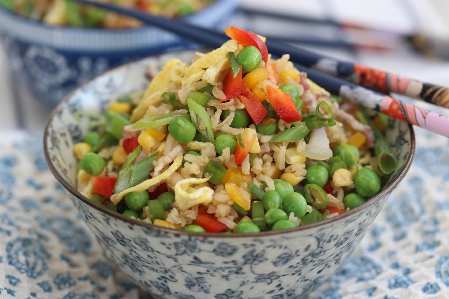 Eggy Fried Brown Rice with Vegetables and Arame