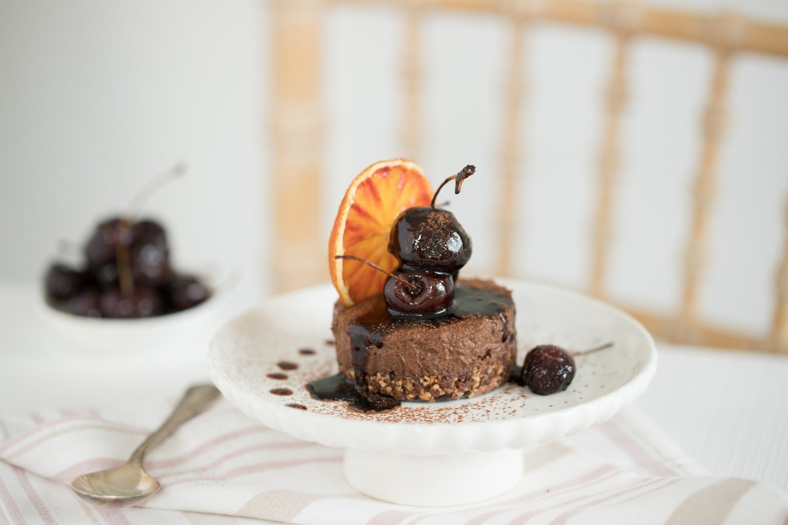 Double Chocolate, Roasted Hazelnut & Blood Orange Torte with a Balsamic Cherry Syrup