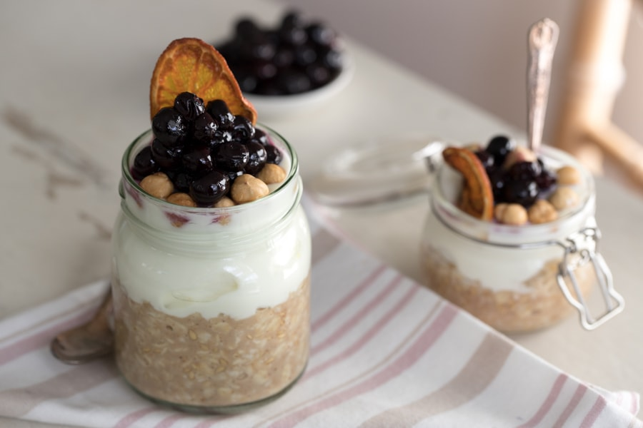 Overnight Oats, Manuka Blueberry Compote, Roasted Hazelnut Crunch