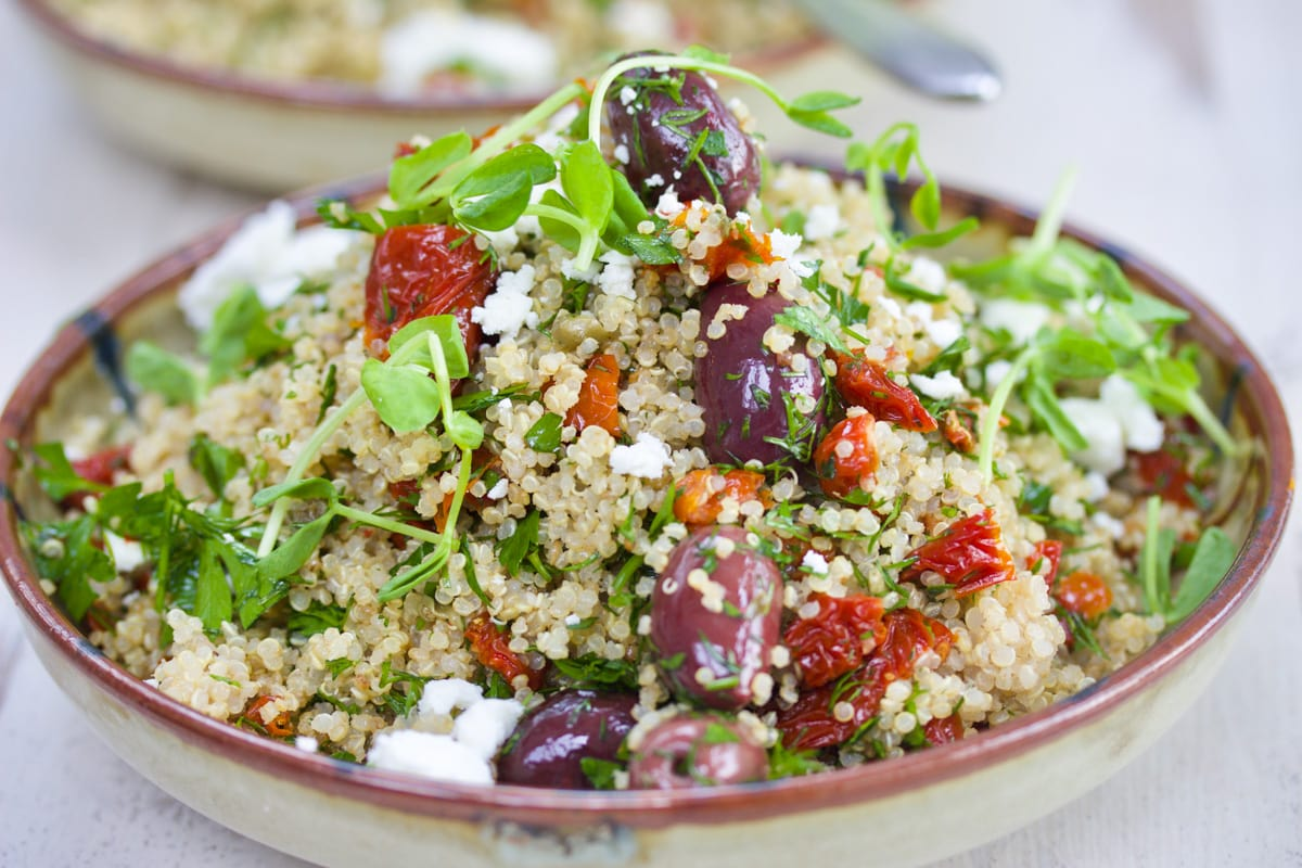 Greek Quinoa Salad with Smoked Semi-Dried Tomatoes, Olives and Feta