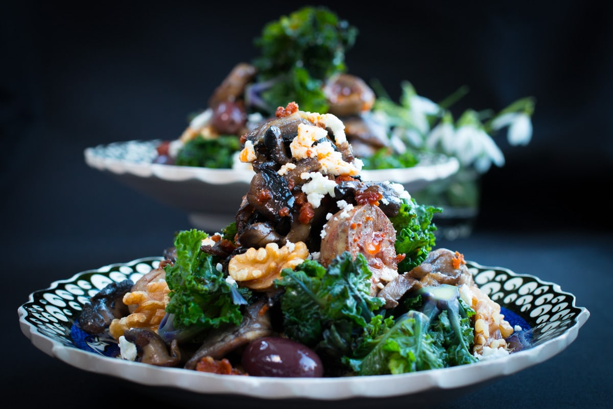 Sautéed Lamb Kidneys with Chorizo, Flower Sprouts and Feta