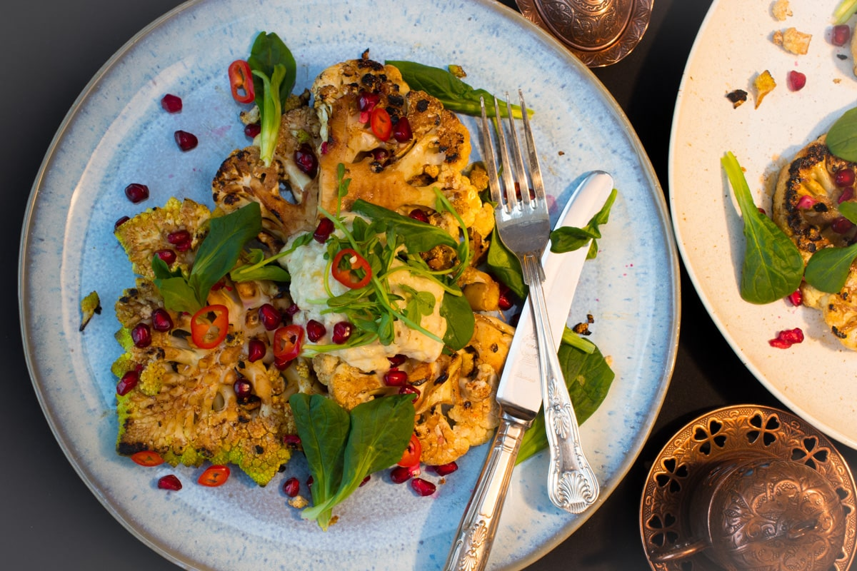 Scorched Cauliflower Steak, Smoky Aubergine and Yoghurt Chutney