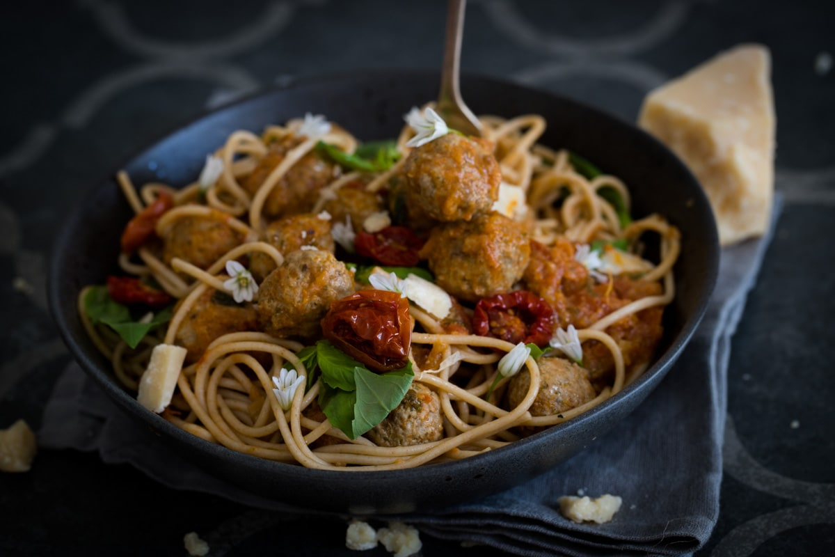 Ultimate Italian Meatballs in Homemade Roasted Tomato Sauce